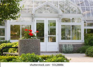 The front of a  white greenhouse.  University of Guelph, Guelph, Ontario, Canada