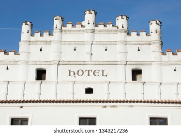 Front of a white Hotel on the main street in Trebon a Town in The Czech Republic Europe, known for it's many Fish Ponds.