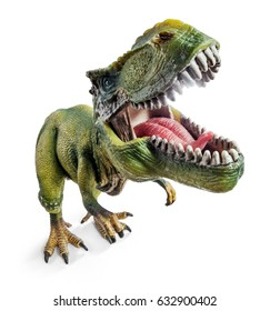 Front Wide View of Tyrannosaurus, dinosaurs toy isolated on white background with clipping path.