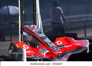 Front wing of McLaren Mercedes F1 car of Lewis Hamilton