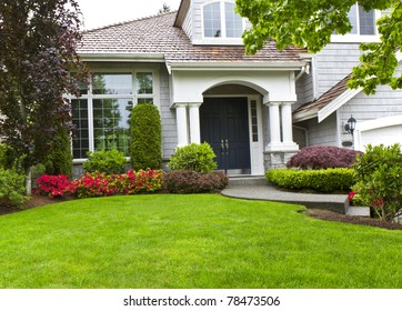 Front yard of modern home during late spring