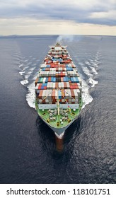 Frontal aerial view of a Cargo vessel.