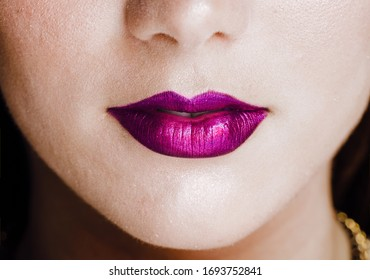 Frontal Close up of beautiful colorful lips of sexy girl