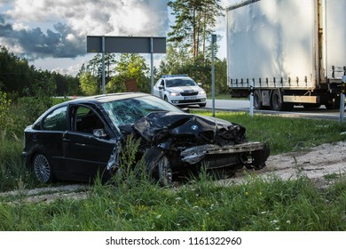 frontal collision of BMW and truck DAF, in Latvia on the A4 road, which occurred on the evening of August 21, 2018, in the collision, a woman - BMW driver, she was injured and was taken to hospital