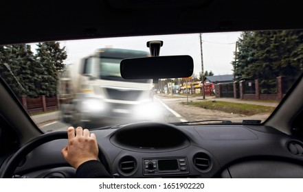 frontal collision of a car with a truck