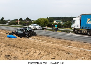 frontal collision of Ford and DAF truck, in Latvia on the A5 road, which occurred on the evening of August 20, 2018.A woman who was sitting in the back seat, in Ford - died on the spot