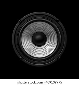 Frontal image  audio speaker with undulating membrane. Photo black and white, isolated on a black background.