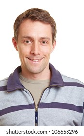 Frontal portrait of a smiling happy man