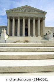 Frontal portrait of the US Supreme Court in Washington DC, USA.