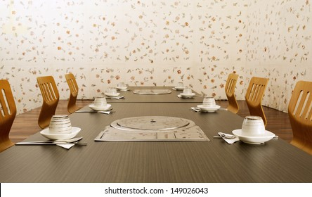 Frontal shot of the interior of a Korean private dining room.