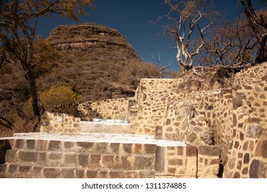 Frontal view of archaeological vestiges in pyramid that date from the year 1153 in the chasm of the great hill of the speaker in a state of Mexico