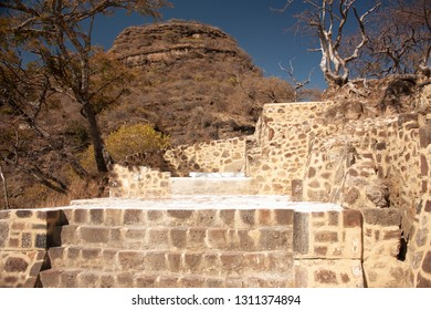 Frontal view of archaeological vestiges in pyramid that date from the year 1153 in the taking you can appreciate the steps leading to the chasm of the great hill of the speaker in a state of Mexico