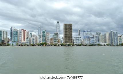 Frontal view of Balneario Camboriu, SC/ Brazil cityscape seen from the sea