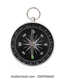 Frontal view of compass isolated on white background
