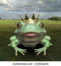 Frontal view of frog prince with kissing gesture 3d render