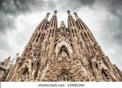 "Frontal view of ""La Sagrada Familia"". Picture without cranes, cleaned digitally. Barcelona."