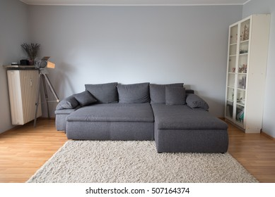 Frontal view of a a living room in an apartment with a large gray sofa bed, a carpet, a lamp and a cabinet