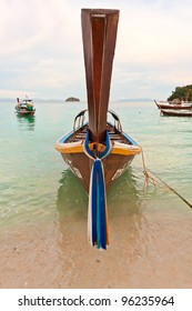 frontal view of a longtail boat in thailand