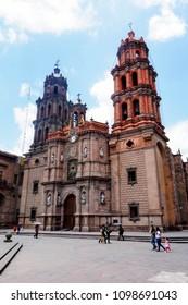 Frontal view of Metropolitan Cathedral of San Luis Potosí, Mexico. June 2015.