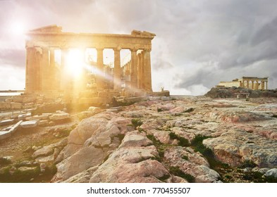 Frontal view of Parthenon temple with the Erection temple in the background at the Acropolis of Athens, Attica, Greece.