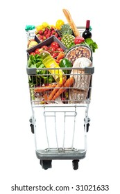 A frontal view of a shopping trolley filled with a selection of fresh food