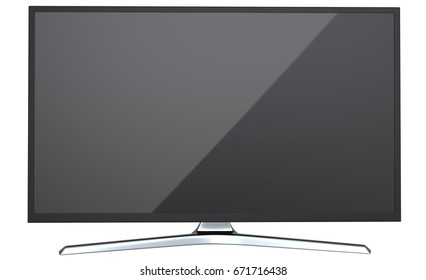 Frontal view of television TV or computer PC monitor display led or lcd, isolated on white background 3d render.