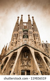 "Frontal view of this architecture masterpiece, ""La Sagrada Familia"" by Antoni Gaudi. Picture without cranes, cleaned digitally. Barcelona."
