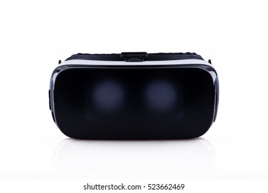 Frontal view of virtual reality VR headset, isolated on white background