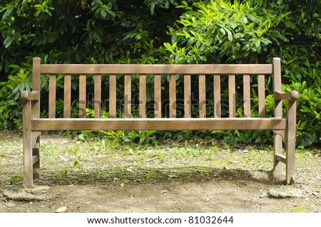 Frontal View Wooden Empty Bench Park Stock Photo Edit Now 81032644
