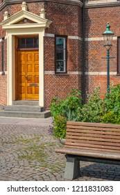 Frontdoor of the old historic townhall of Stege, Moen Island, Denmark, Scandinavia, Europe.