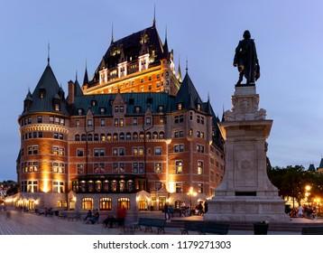 Frontenac Castle and Dufferin Terrace at Dusk - Quebec