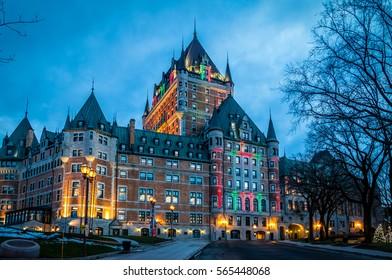 Frontenac Castle at night - Quebec City, Quebec, Canada
