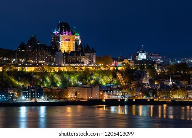 Frontenac Castle in Old Quebec City at night in Quebec, Canada.