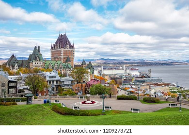 Frontenac Castle in Old Quebec City during daytime in autumn season, Quebec, Canada.
