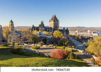Frontenac Castle in Old Quebec City in the beautiful autumn season