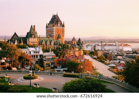 Frontenac Castle in Old Quebec City in the beautiful sunrise light.