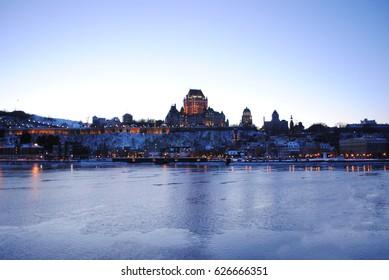 Frontenac Castle in Quebec City at Sundown
