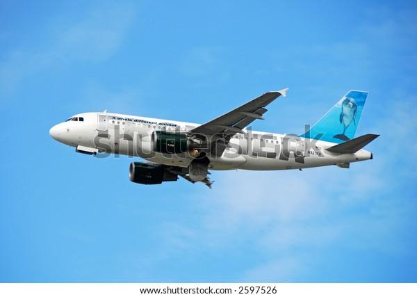 Frontier Airlines Airbus A-319 jetliner based in Denver, Colorado