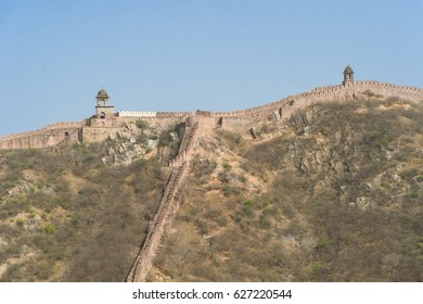 Frontier wall at Amber Fort Jaipur, Rajasthan, India. Amber Fort is the main tourist attraction in the Jaipur area.