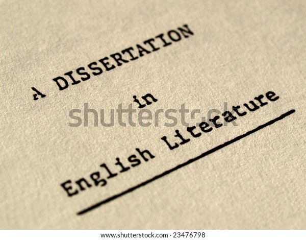 Frontispiece of a dissertation in English Literature