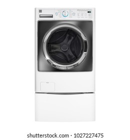 Front-Load Washer Isolated on White Background. Front View of White Modern Washer Machine. Front Load Washing Machine with Electronic Control Panel. Domestic Appliances. Home Appliances
