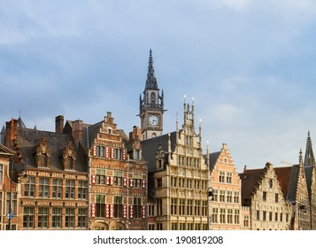 fronts of medieval guildhall houses, Ghent, Belgium