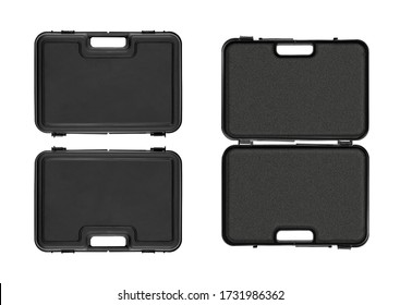 Frontside, backside and open view of a matte black plastic case with a black foam insert isolated on white background for individual design and graphic mockups. No perspective, no people.