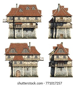 Frontside medieval houses set. 3D illustration