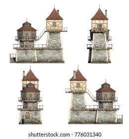 Frontside medieval houses set. 3D illustration