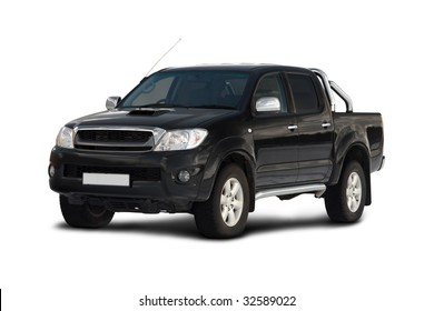 Front-side view of pick-up truck isolated on white background