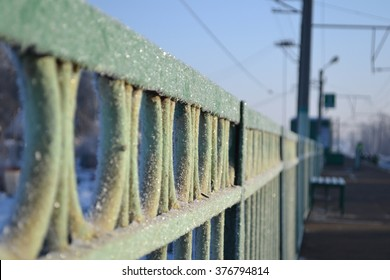Frost on the fence, railway station near Moscow, Russia
