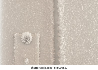 Frost on the iron door.