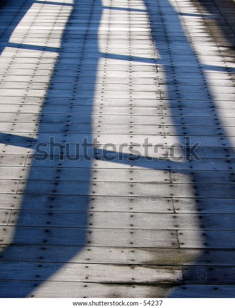 Frost on a wooden bridge