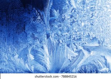 frost pattern on a windowpane closeup